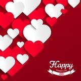 Röda och vitbokhjärtor för valentin för illustration, på röd bakgrund, hälsningkort Royaltyfri Fotografi