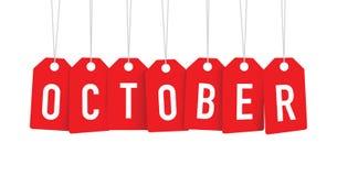 Röda Oktober etiketter royaltyfri illustrationer