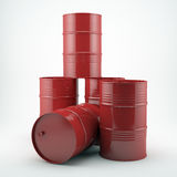 Röda olje- trummor på vit Royaltyfri Foto