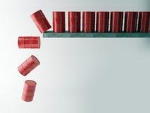 Röda olje- trummor som isoleras på vit bakgrund Royaltyfria Bilder
