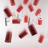 Röda olje- trummor som isoleras på vit bakgrund Royaltyfri Fotografi