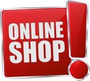 Röda online- shoppar knappen Fotografering för Bildbyråer