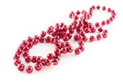 Röda pärlor för Mardi Gras parti Royaltyfria Foton
