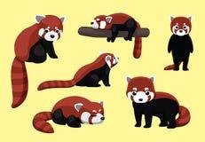 Röda Panda Poses Cartoon royaltyfri illustrationer