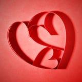 Röda pappers- hjärtor Royaltyfria Foton