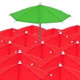 Röda paraplyer Arkivbild