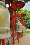 Röda paraplylandskap Royaltyfri Fotografi
