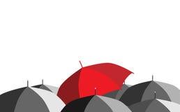 röda paraplyparaplyer Royaltyfria Bilder