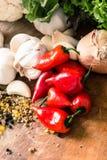 Röda peppar och vitlök Arkivfoton