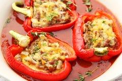 Röda peppar som är välfyllda med köttet, risen och grönsakerna Royaltyfria Foton