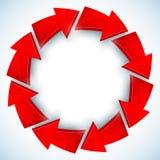 Röda pilar stängd vektorcirkel Fotografering för Bildbyråer