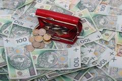 Röda plånbok och pengar Royaltyfri Bild