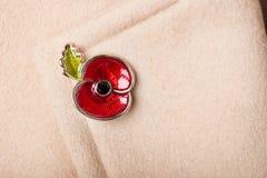 Röda Poppy Pin som ett symbol av minnedagen Royaltyfri Foto