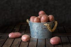 Röda potatisar i hink på den gamla tabellen royaltyfria bilder