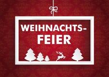 Röda prydnader Weihnachtsfeier för vit ram Royaltyfria Bilder
