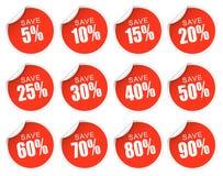 Röda rabattklistermärkear - Arkivbilder
