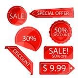 Röda rabattklistermärkear för samling som isoleras på vit Arkivfoto