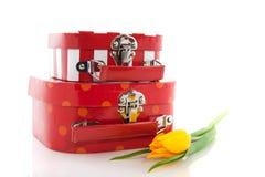 röda resväskor Fotografering för Bildbyråer