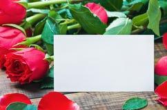 Röda ro och vitkort med en förlägga för en lyckönsknings- text Arkivbilder
