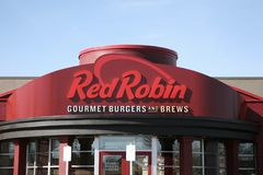 Röda Robin Gourmet Burgers arkivfoto