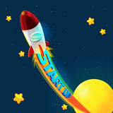 Röda Rocket Business Space Fly Arkivbilder