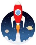 Röda Rocket Flying i utrymmet med stjärnor royaltyfri illustrationer