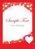Röda Rose Card Template Fotografering för Bildbyråer