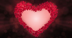 Röda Rose Flower Petals In Heart Shape Alpha Matte Loop Placeholder 4k stock video
