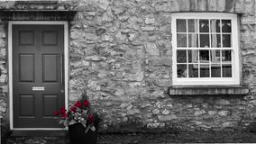 Röda Rose House Color Splash arkivfoto