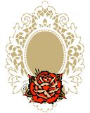 Röda Rose White Lace Frame royaltyfri illustrationer