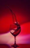Röda Rose Wine Tempting Abstract Splashing på lutningbakgrund av de vita rosa färgerna och de röda färgerna på det reflekterande Royaltyfri Foto