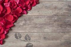 Röda roskronblad på träbakgrunden Rose Petals Border på en trätabell Bästa sikt, kopieringsutrymme den blom- ramen inramniner ser Arkivbilder