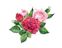 Röda rosor - blom- sammansättning Vattenfärg för bröllopkort Royaltyfria Bilder