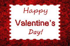 Röda rosor för lycklig dag för valentin` som s märker inramad bakgrund Royaltyfria Foton