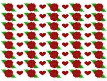 Röda rosor med röda hjärtor - vektor stock illustrationer