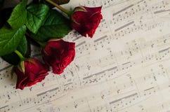 Röda rosor med musikaliska anmärkningar Royaltyfri Foto