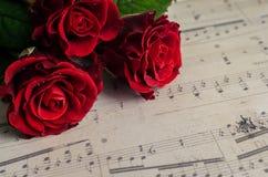 Röda rosor med musikaliska anmärkningar Royaltyfria Bilder