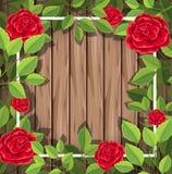 Röda rosor på träbakgrund stock illustrationer
