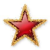 Röda Ruby Coloured Gemstone Star med den guld- ung stjärnagränsen Arkivfoton