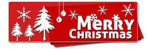 Röda rundade fyrkanter för glad jul Arkivfoto