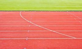 röda running spår Fotografering för Bildbyråer