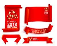 Röda Ryssland uppsättning för 2018 världscupfotbolletiketter Stock Illustrationer