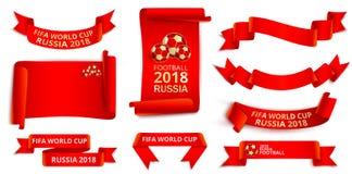 Röda Ryssland uppsättning för 2018 världscupfotbolletiketter Vektor Illustrationer