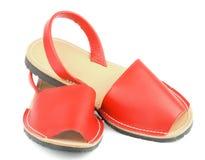 Röda sandaler Avarcas Fotografering för Bildbyråer