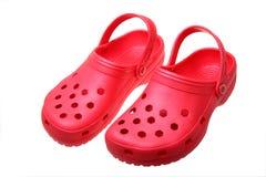 Röda sandals Arkivfoton