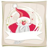 Röda Santa Claus på snowflakes och gröna prickar Royaltyfri Bild