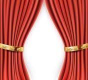 Röda satänggardiner med guld- bakgrund Royaltyfri Foto