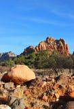 Röda Sedona vaggar mot en ljus blå himmel Arkivbild