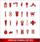 röda set symboler för afrikansk färggud Fotografering för Bildbyråer