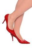 röda sexiga skor Arkivbild